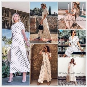 ZARA POLKA DOT BELTED MAXI DRESS